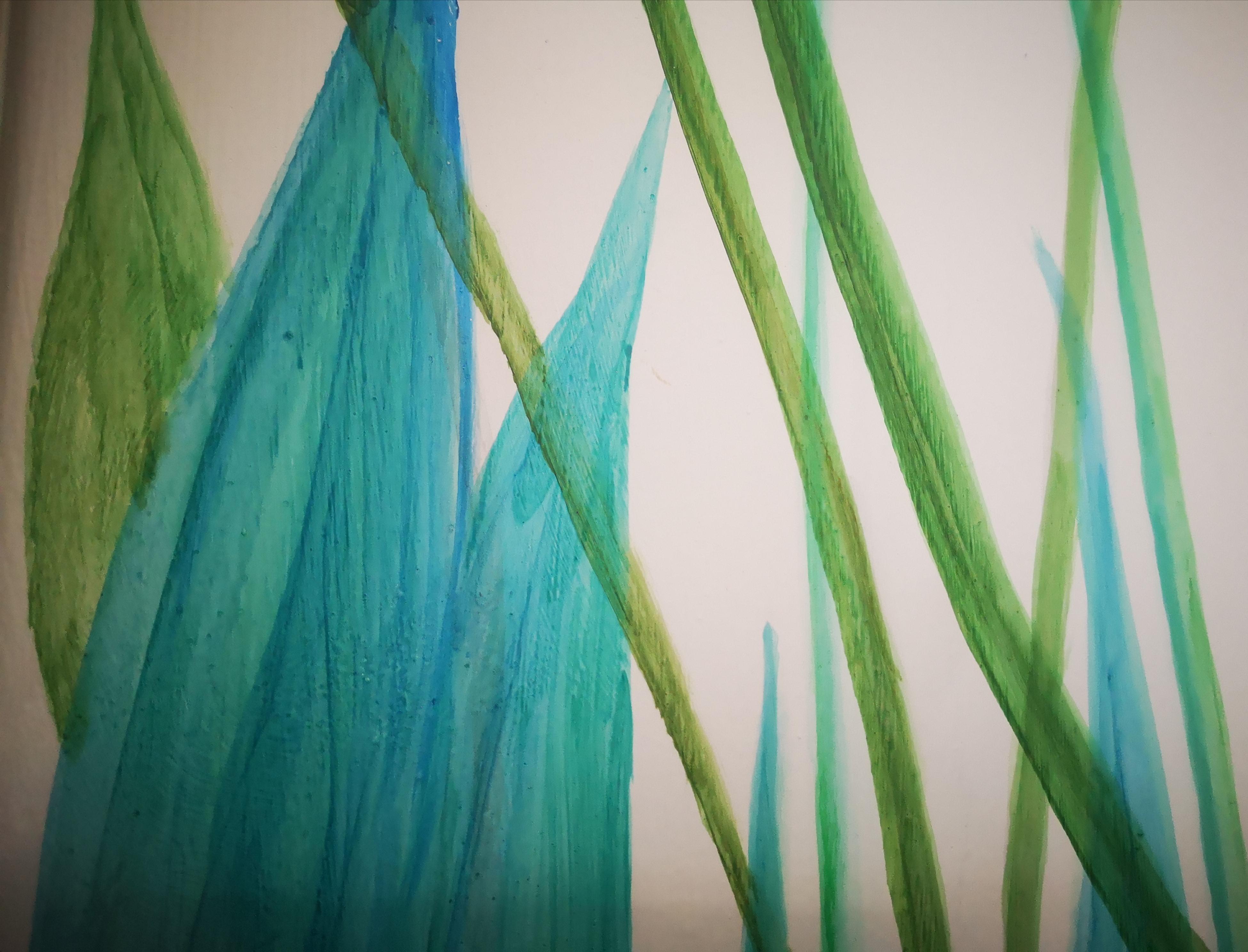 Variedad de colores y veladuras presentes en el mural tropical pintado a mano con pintura acrílica (CreativeSalo)