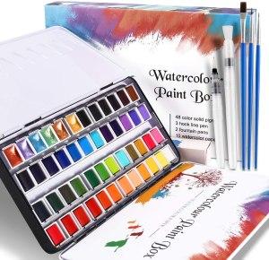 pintar con acuarelas es toda una aventura, disfruta de esta manualidad con este juego de acuarelas de compuesto de 48 colores e